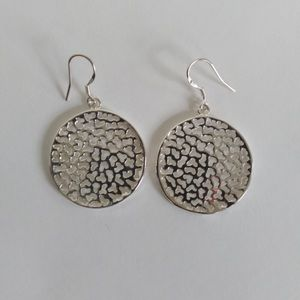 """Silver Plated 1"""" Round Cut Out Drop Earrings"""